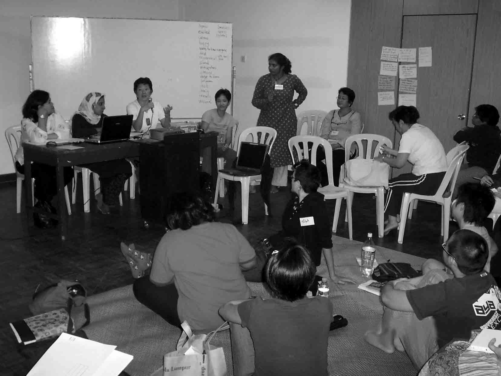 "Volunteers of  the Fiesta Feminista Organising Committee gathered together during ""The PoliticalABC's of Fiesta Feminista"" workshop in PetalingJaya, Malaysia on March 31-April 1, 2007."