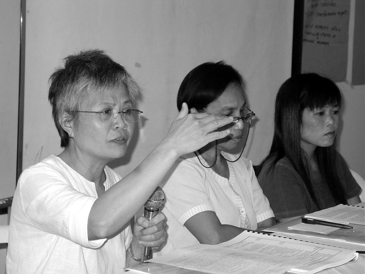 Leny Tolentino speaks of women's agency and empowerment during the 2007 Regional School on Marriage Migration in Asia held in November at Pagsanjan, Philippines.