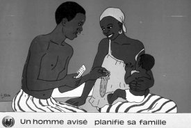 Distributed by Burkina Faso's Ministry of Health and Social Action, the poster emphasises the role of male partners in family planning and reproductive health. Image from Info for Health website, http://www.infoforhealth.org