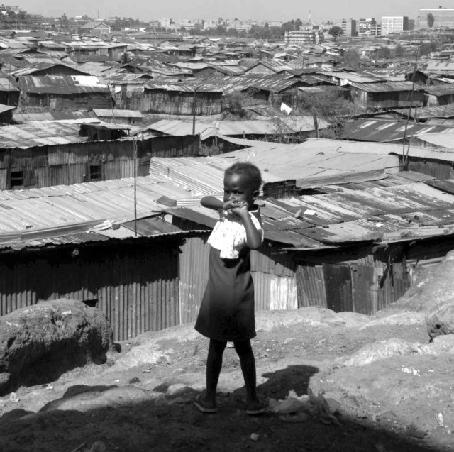 A view of the sprawling Mathare slums from a cliff.